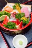 Sistema del sashimi de los mariscos crudos Fotos de archivo libres de regalías