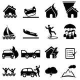 Sistema del seguro y del icono del desastre Foto de archivo