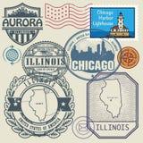 Sistema del sello con el nombre y el mapa de Illinois Foto de archivo libre de regalías