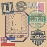 Sistema del sello con el nombre y el mapa de Mississippi stock de ilustración