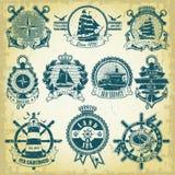 Sistema del sello con un tema náutico Fotografía de archivo