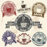 Sistema del sello del café Imágenes de archivo libres de regalías