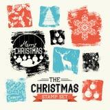 Sistema del sello del vintage de la Navidad Foto de archivo libre de regalías