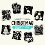 Sistema del sello del vintage de la Navidad Imagen de archivo libre de regalías