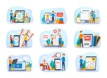 Sistema del servicio online La gente pide entrega de la comida libre illustration