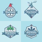 Sistema del sistema plano del vector del diseño de las banderas de las etiquetas de las insignias de la Navidad Fotos de archivo libres de regalías