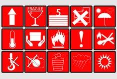 Sistema del símbolo del embalaje, aislado en blanco Fotografía de archivo libre de regalías