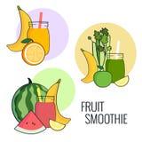 Sistema del smoothie de la fruta El plátano, la manzana, el apio, el limón y la sandía sacuden Menú fresco de la bebida, jugo par Fotografía de archivo