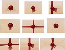 Sistema del sobre con los sellos de la cera Fotos de archivo libres de regalías