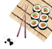 Sistema del sushi, ejemplo de la acuarela para el menú, barra de sushi o delive Foto de archivo