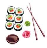 Sistema del sushi, ejemplo de la acuarela para el menú, barra de sushi o delive Fotografía de archivo libre de regalías