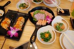Sistema del sushi del Sashimi Fotografía de archivo