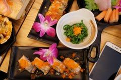 Sistema del sushi del Sashimi Imagenes de archivo