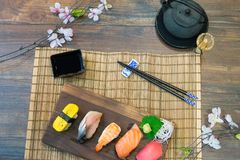 Sistema del sushi del Sashimi Fotos de archivo libres de regalías