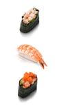 Sistema del sushi tres Imagen de archivo