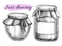 Sistema del tarro del vintage del vector Ilustraciones drenadas mano stock de ilustración