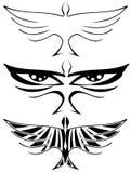 Sistema del tatuaje abstracto de los pájaros aislado Imagen de archivo libre de regalías