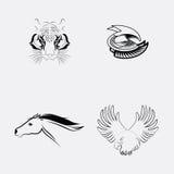Sistema del tatuaje de los animales stock de ilustración