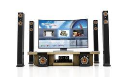 Sistema del teatro domestico con la TV astuta Fotografia Stock Libera da Diritti