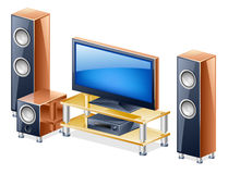 Sistema del teatro domestico con la TV e gli altoparlanti Fotografia Stock Libera da Diritti