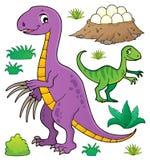 Sistema 8 del tema del dinosaurio stock de ilustración
