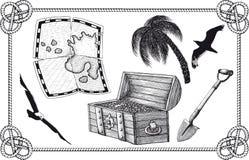Sistema del tesoro del pirata Fotos de archivo libres de regalías