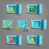 Sistema del tesoro en caja fuerte Monedas de oro, barras de oro, gemas y dólares Foto de archivo