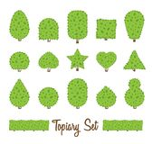 Sistema del Topiary Diversa forma básica de los arbustos, árboles Arbustos multiformes verdes Fotos de archivo