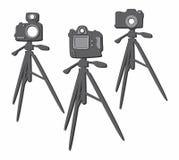 Sistema del trípode de cámara de la foto Imágenes de archivo libres de regalías