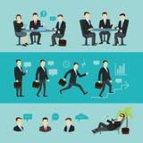 Sistema del trabajo en equipo, entrevista Vector plano Foto de archivo