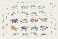 Sistema del unicornio del país de las maravillas ilustración del vector