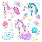Sistema del unicornio mágico lindo, arco iris, estrella, torta Diseño del vector aislado en el fondo blanco Ilustración para los  imagen de archivo