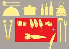 Sistema del utensilio de la cocina y colección de cookware, ejemplos Imagenes de archivo