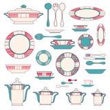 Sistema del utensilio de la cocina y colección de ejemplo del vajilla Imagen de archivo libre de regalías
