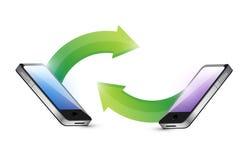 Sistema del vínculo de los teléfonos el uno al otro. ejemplo libre illustration