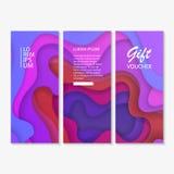 Sistema del vale, chèque-cadeaux diseñe con el fondo colorido, abstracto del corte del papel, ejemplo del vector libre illustration
