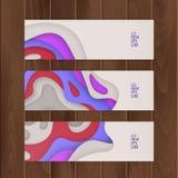 Sistema del vale, chèque-cadeaux diseñe con el fondo colorido, abstracto del corte del papel, ejemplo del vector ilustración del vector