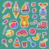 Sistema del vecto de los iconos de los juguetes de los niños imagen de archivo libre de regalías