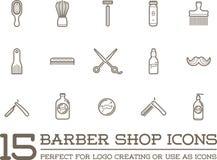 Sistema del vector Barber Shop Elements Imagen de archivo libre de regalías