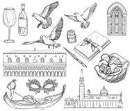 Sistema del vector del bosquejo de Venecia Rebecca 36 imagen de archivo
