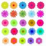 Sistema del vector brillante de las etiquetas engomadas de la flor Imagen de archivo