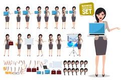 Sistema del vector del carácter del negocio de la mujer Ordenador portátil femenino de la tenencia de la persona de la oficina ilustración del vector