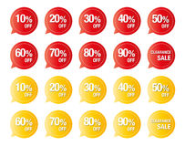 Sistema del vector colorido del precio aislado en el blanco, etiquetas para las ventas del descuento ilustración del vector
