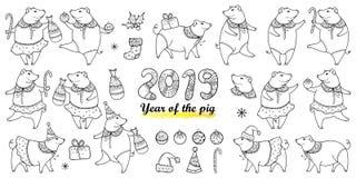 Sistema del vector con el cerdo feliz del esquema en negro aislado en el fondo blanco Símbolo del Año Nuevo chino 2019 en estilo  ilustración del vector