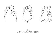 Sistema del vector con el perfil principal del gallo o del gallo en negro aislado en el fondo blanco Silueta del pollo en estilo  Fotografía de archivo libre de regalías