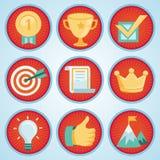 Sistema del vector con las insignias del logro y de los premios stock de ilustración