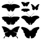 Sistema del vector con las mariposas aisladas Imagen de archivo