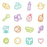 Sistema del vector con los iconos incompletos del bebé aislados en blanco Imagenes de archivo