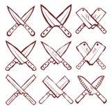 Sistema del vector cruzado de los cuchillos de cocina Foto de archivo libre de regalías