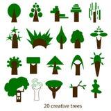 Sistema del vector de árboles creativos Iconos Imagenes de archivo